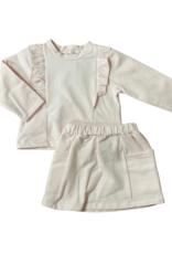 Babidu Long Sleeve Pink Skirt Set