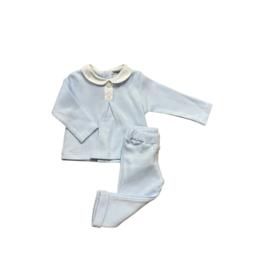 Babidu Sky Blue Two Piece Pant Set With White Collar 67365