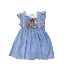 Anavini Farm Dress Tie Side Light Blue With White Dots