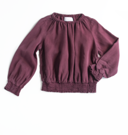 Bella Dahl Girl Smocked Bubble Top Berry Red