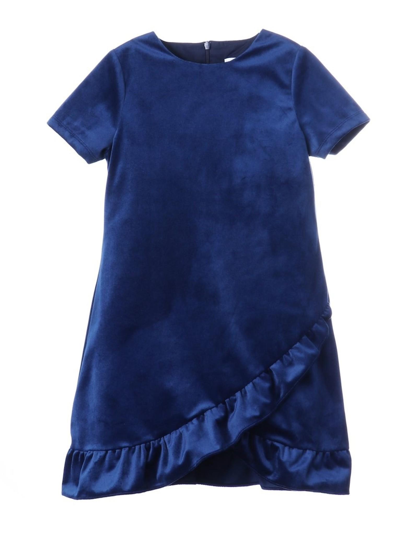 Luli & Me Lux Velvet Ruffles Dress, Navy