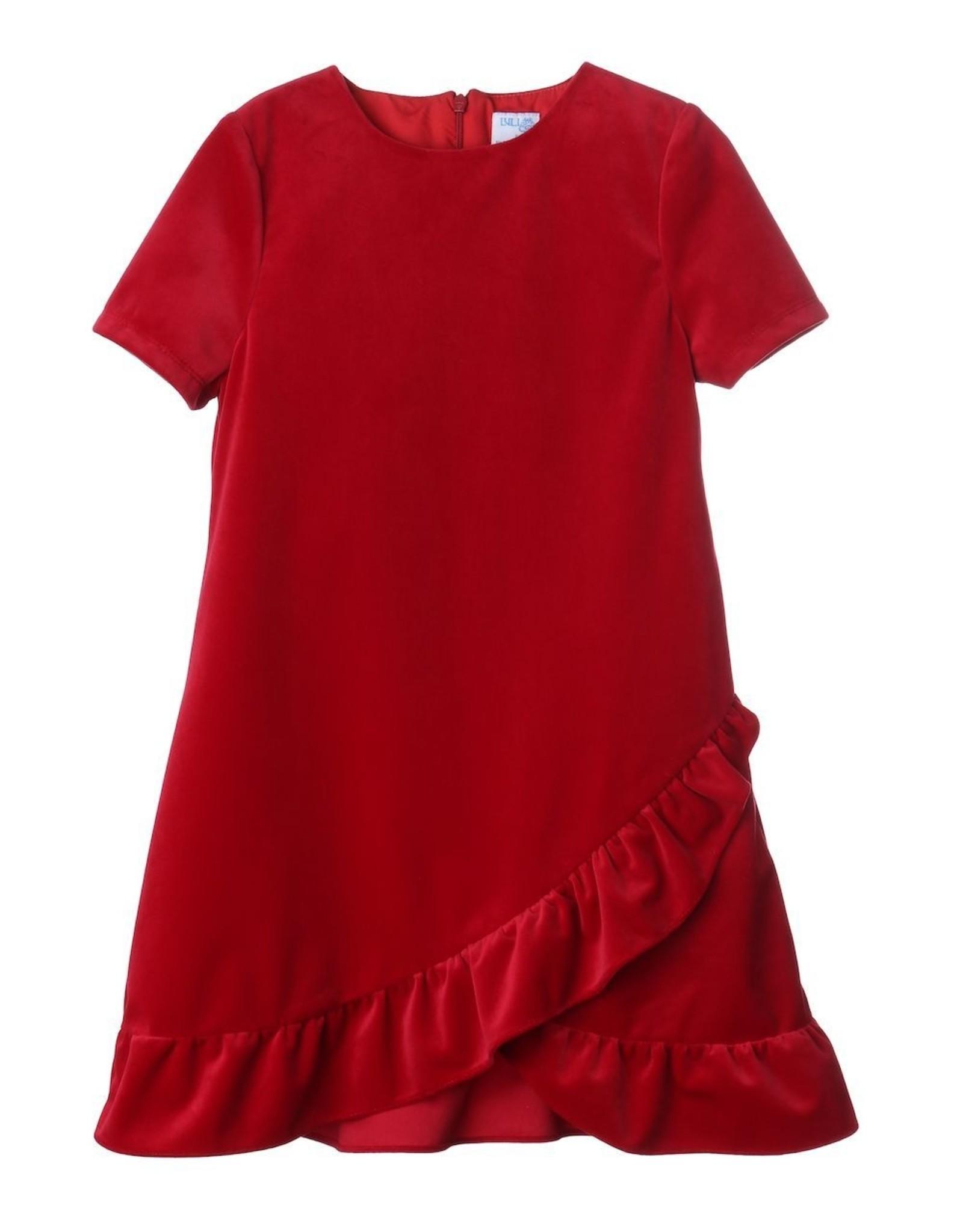 Luli & Me Lux Velvet Ruffles Dress, Red