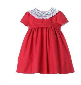 Luli & Me Icy Smock Dress w/Belt, Red