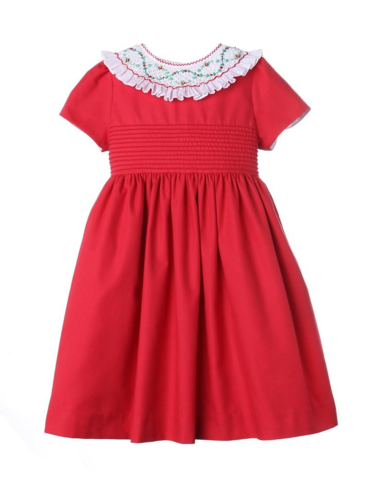 Luli & Me Icy Insert Smock Dress, Red