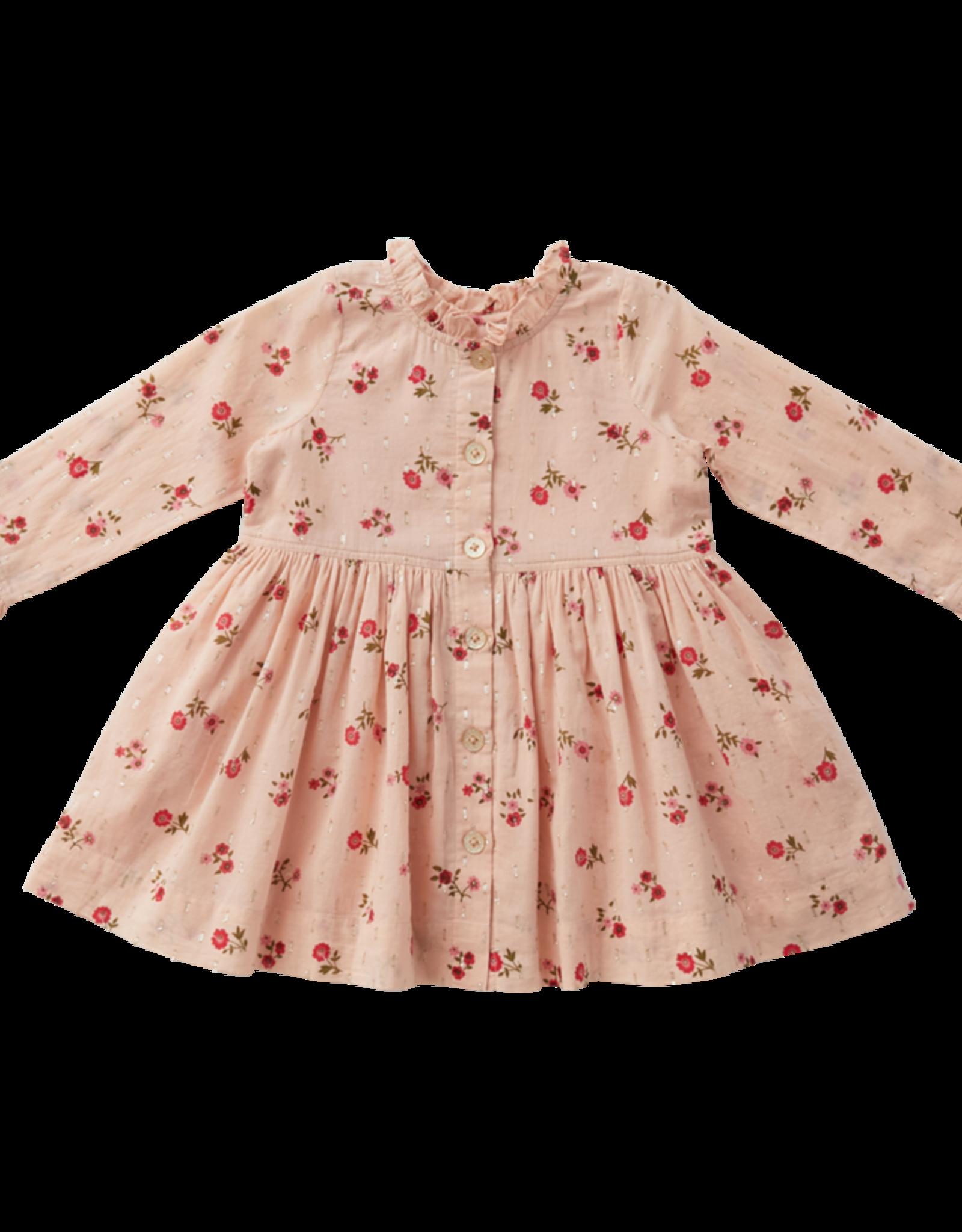 Pink Chicken Autumn Dress, Lurex Wallpaper Floral