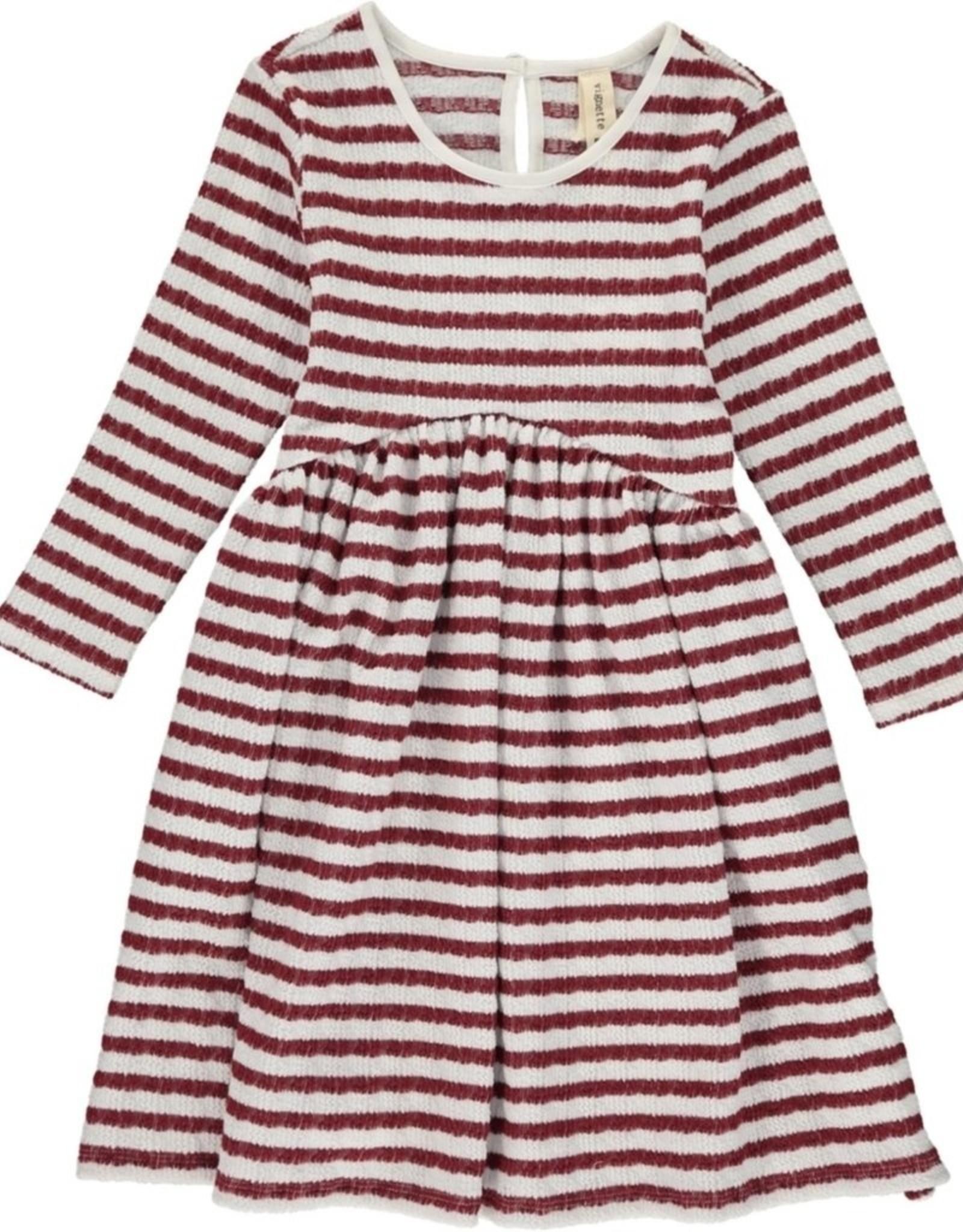 Vignette Charlie Dress, Burgundy Stripe