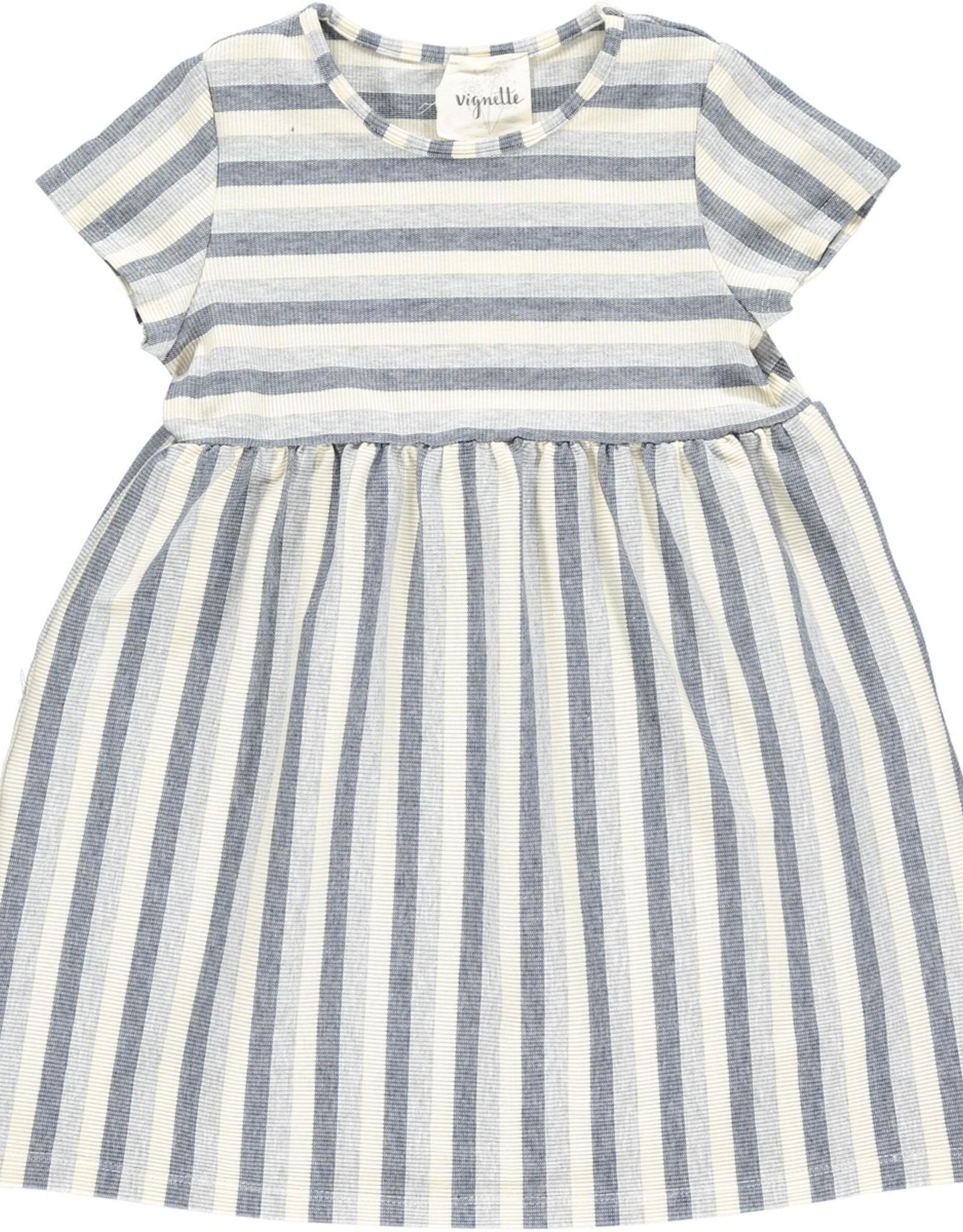 Vignette Claire Dress, Grey Stripe