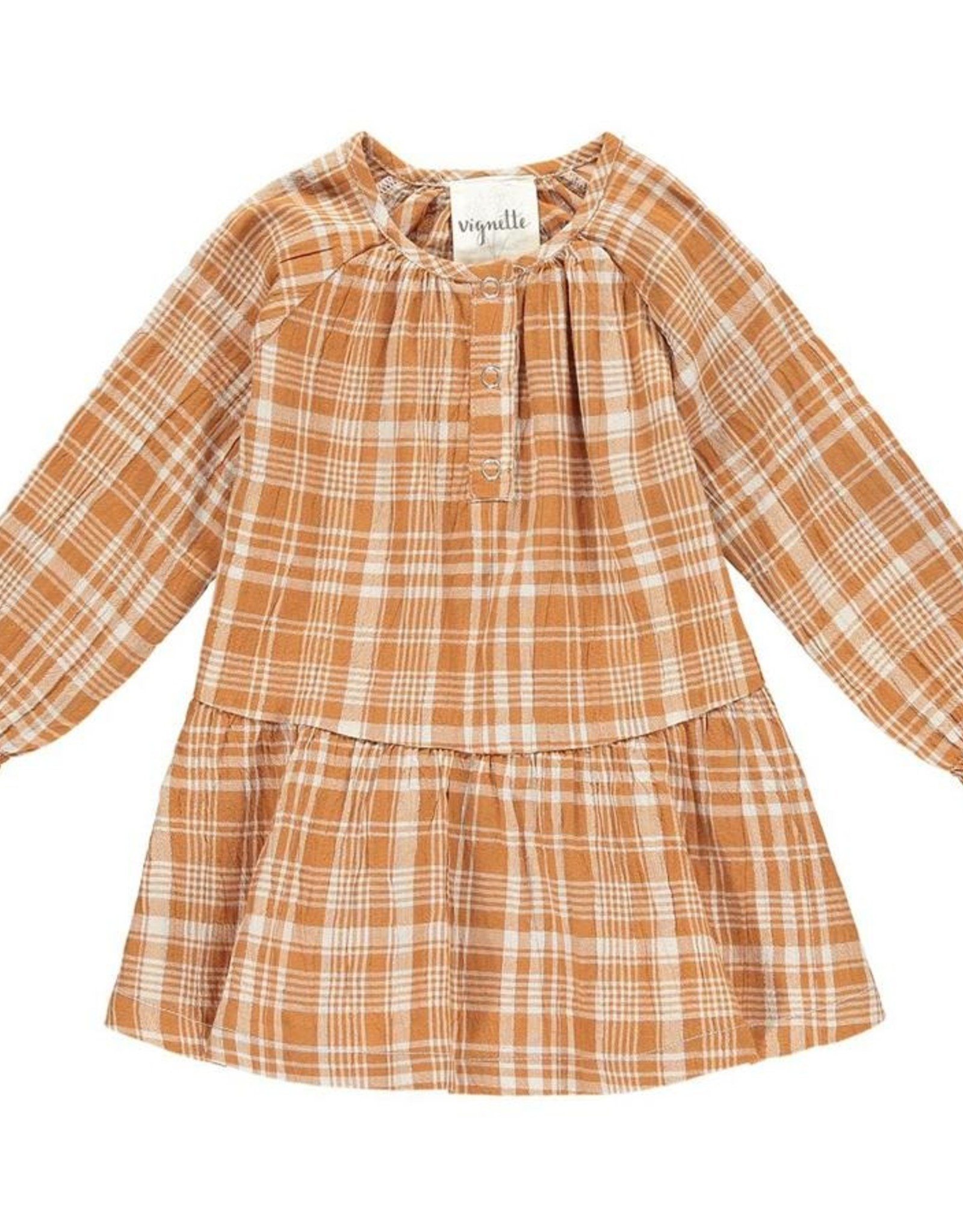 Coco Dress, Rust Plaid