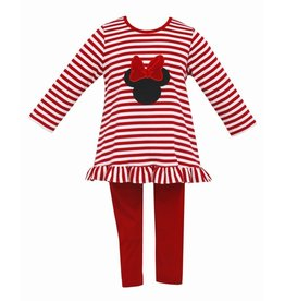 Claire and Charlie Red Stripe Tunic Blouse w/ Minnie Applique Legging Set