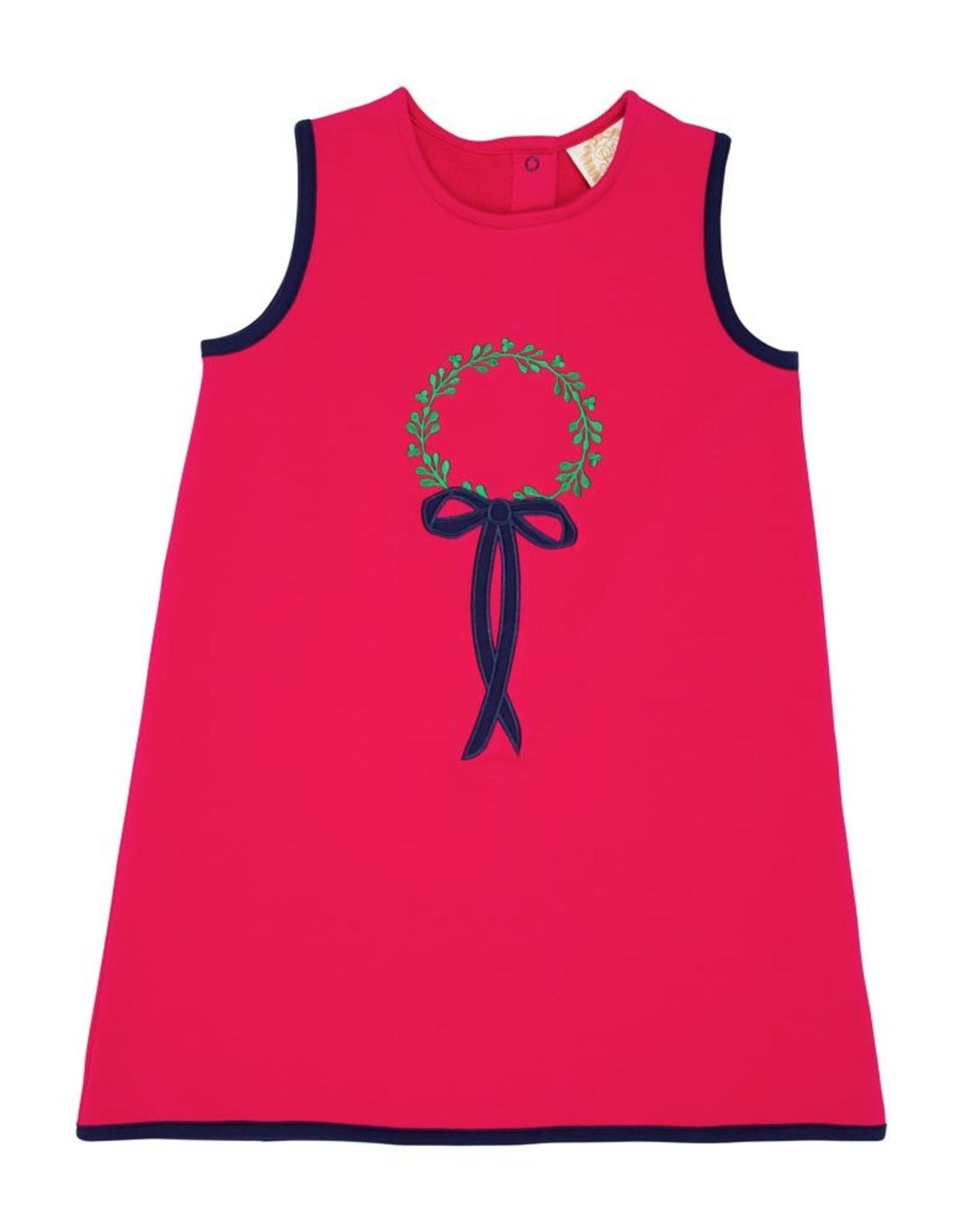 The Beaufort Bonnet Company Annie Apron Dress in Raleigh Raspberry w/ Wreath