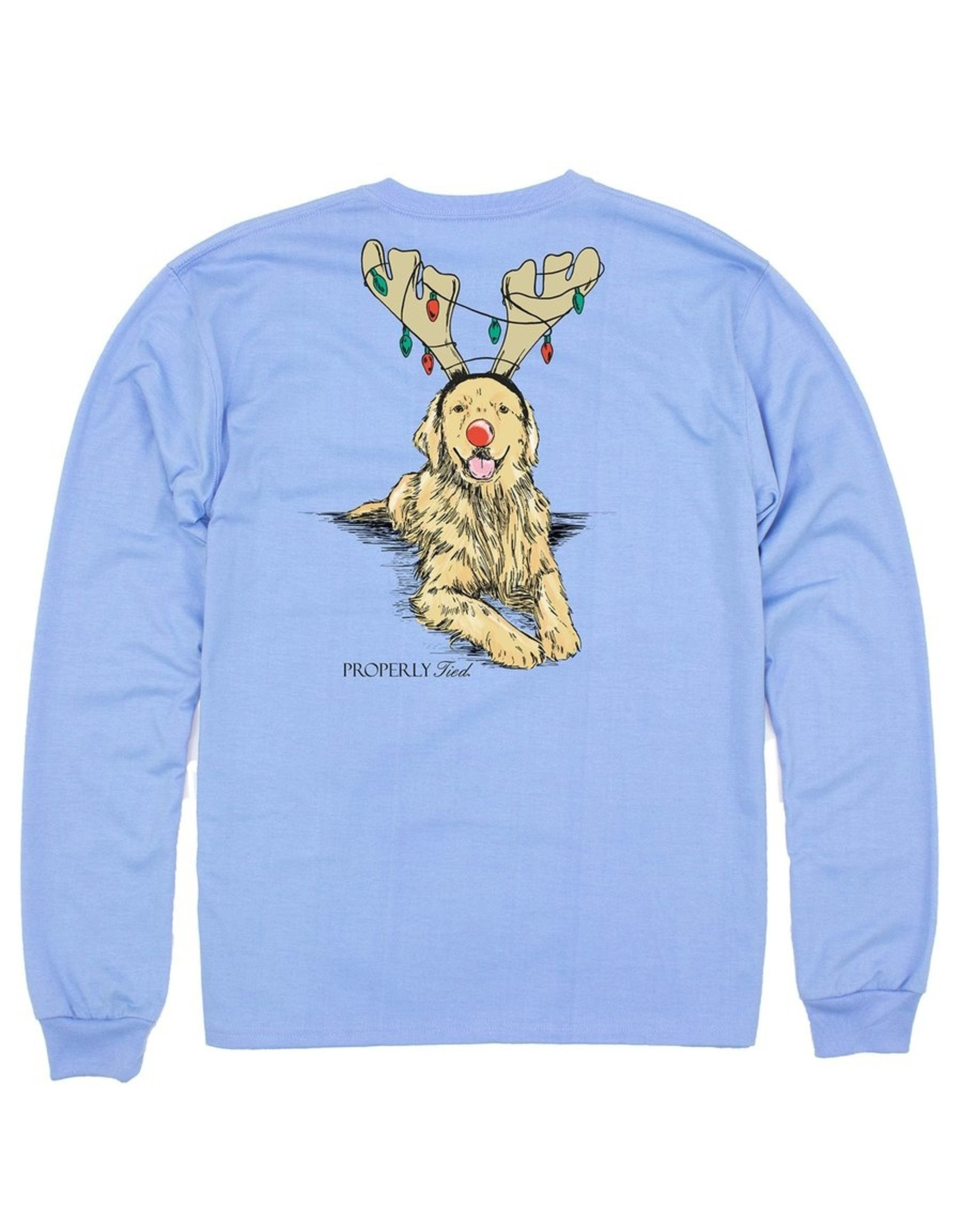 Properly Tied Baby Tee LS Golden Holiday Lt Blue