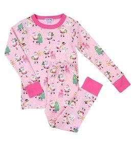Magnolia Baby Jolly Santa Long Pajama Pink