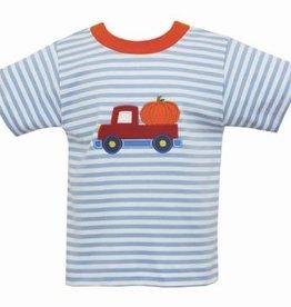 Claire and Charlie Boys Lt Blue Stripe Shirt w/ Truck & Pumpkin Applique