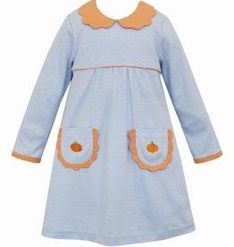Anavini Blue Stripe Dress w/Pumpkin Pockets & Scallop Collar