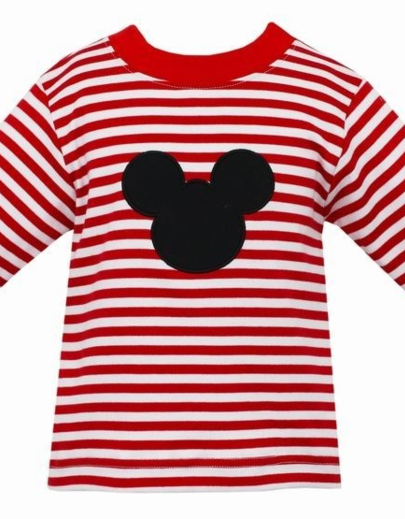 Claire and Charlie LS Red Stripe Mickey Shirt