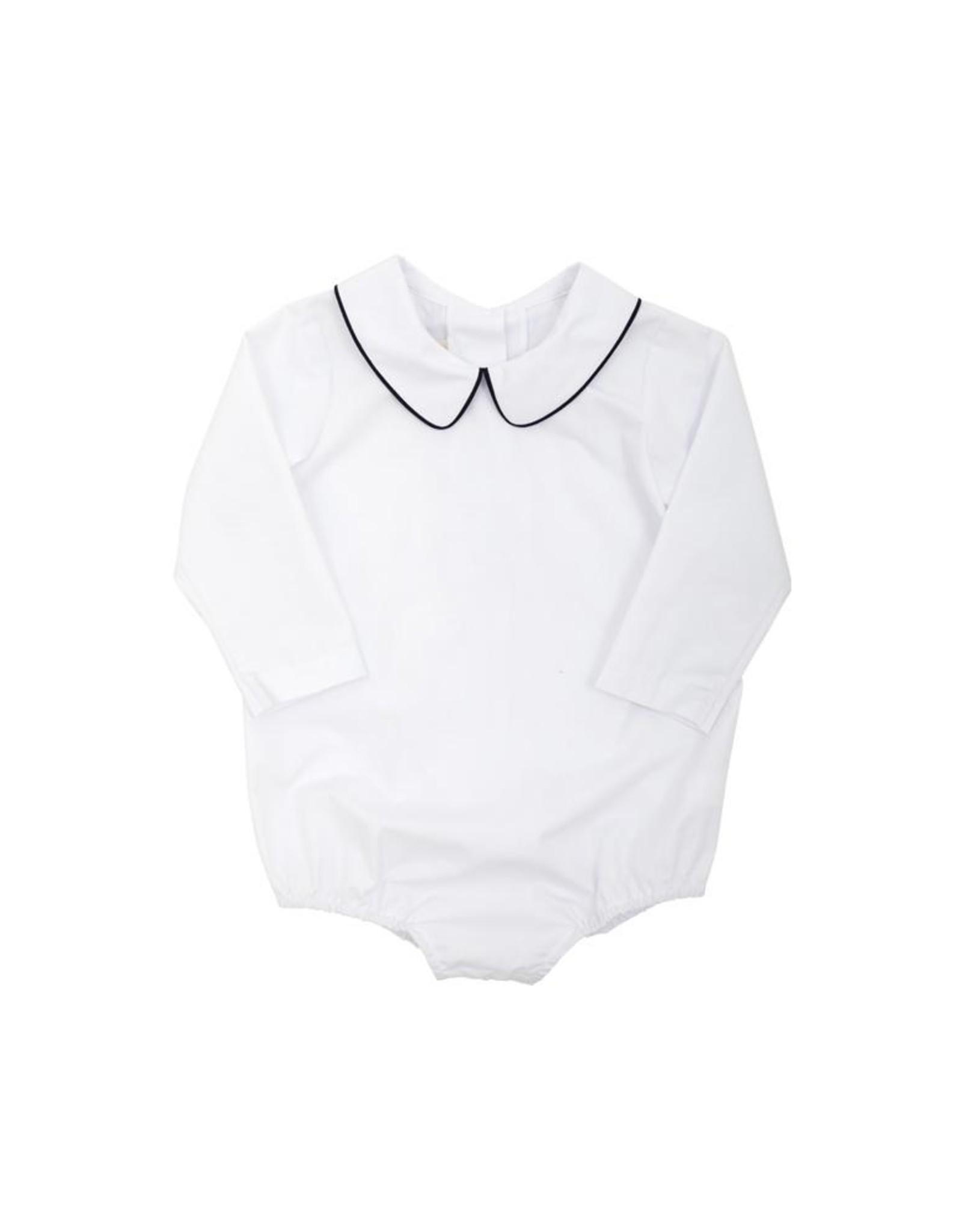 The Beaufort Bonnet Company LS Woven Peter Pan Collar Shirt, White w/Navy