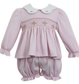 Petit Bebe Pink Smocked Scallop Collar Bloomer Set