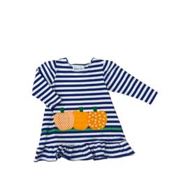 Funtasia Too Royal Stripe Knit Dress Pumpkin Applique