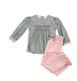 Claire and Charlie Pink/Blue Floral Smock Top and Pink Cord Pant Set