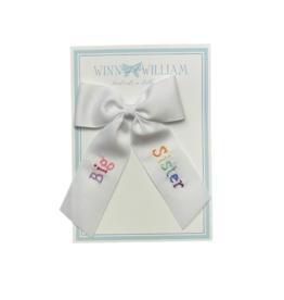 Winn And William Medium Embroidered Bow, Rainbow Big Sister on White