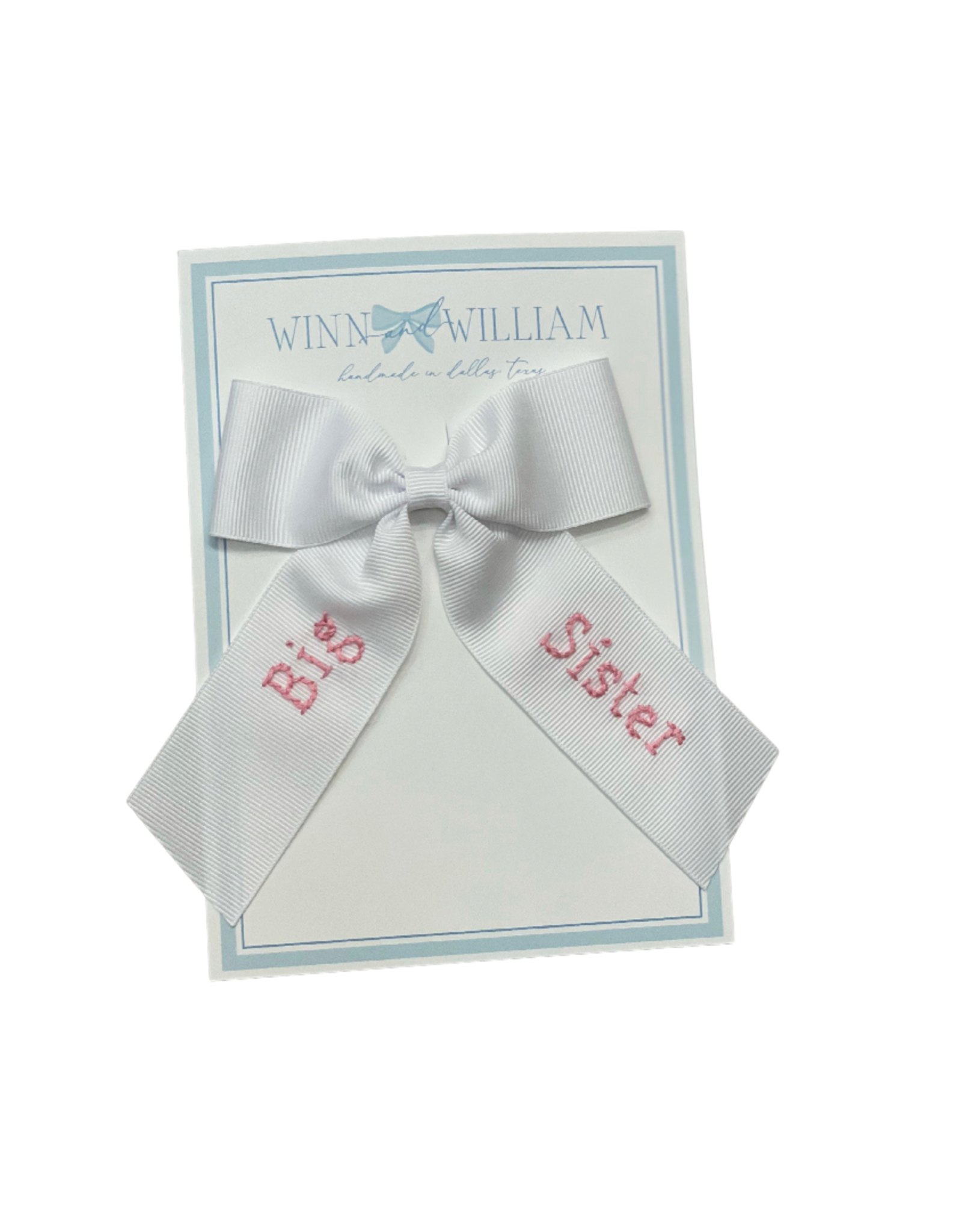 Winn And William Medium Embroidered Bow, Pink Big Sister on White