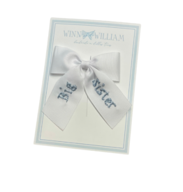Winn And William Medium Embroidered Bow, Blue Big Sister on White