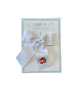Winn And William Medium White Pumpkin Bow on Clip