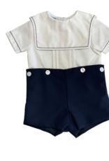 Anavini Napkin Shirt Short Set - White/Navy
