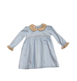Petit Bebe LS Blue Stripe Knit Dress w/ Floral Collar