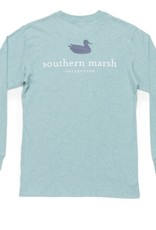 Southern Marsh LS Logo Tee, Washed Moss Blue