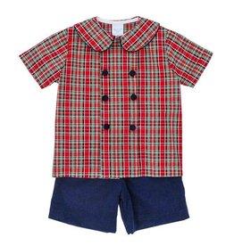 The Bailey Boys Tartan Plaid/Navy Cord Dressy Short Set