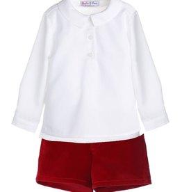 Sophie & Lucas Red Velvet Short Set w/ White Top