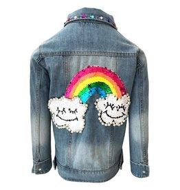 Lola and the Boys Happy Rainbow Denim Jacket
