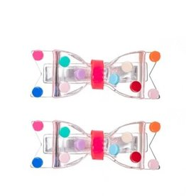 Lillies&Roses Fat Bow Colorful Dots Clear Hair Clips