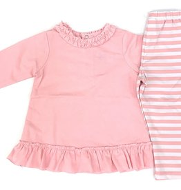The Bailey Boys Light Pink Betsy Top With Stripe Leggings