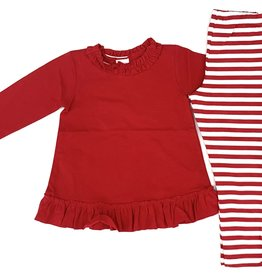The Bailey Boys Red Betsy Top With Stripe Leggings