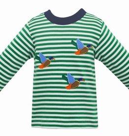 Claire and Charlie LS Green Stripe Mallard Applique Shirt