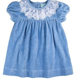 Grace And James Kids Blue Velvet Dress