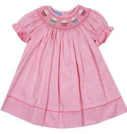 Anavini Pink Bishop Dress with Cupcake Smocking