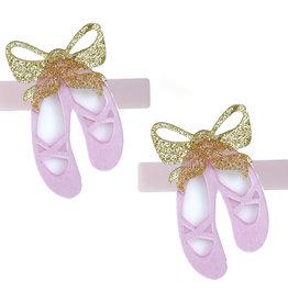Lillies&Roses Ballet Slipper Alligator Clip Satin Pink