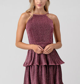 Minuet Backless Pink Ruffle Dress