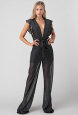 Minuet Sheer Deep V Stripe Jumpsuit
