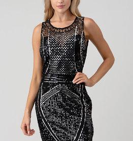 Silver/Black Sequin Slvlss Dress