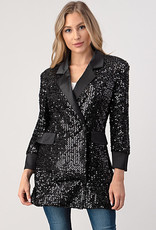 Minuet Black Sequin Tux Dress