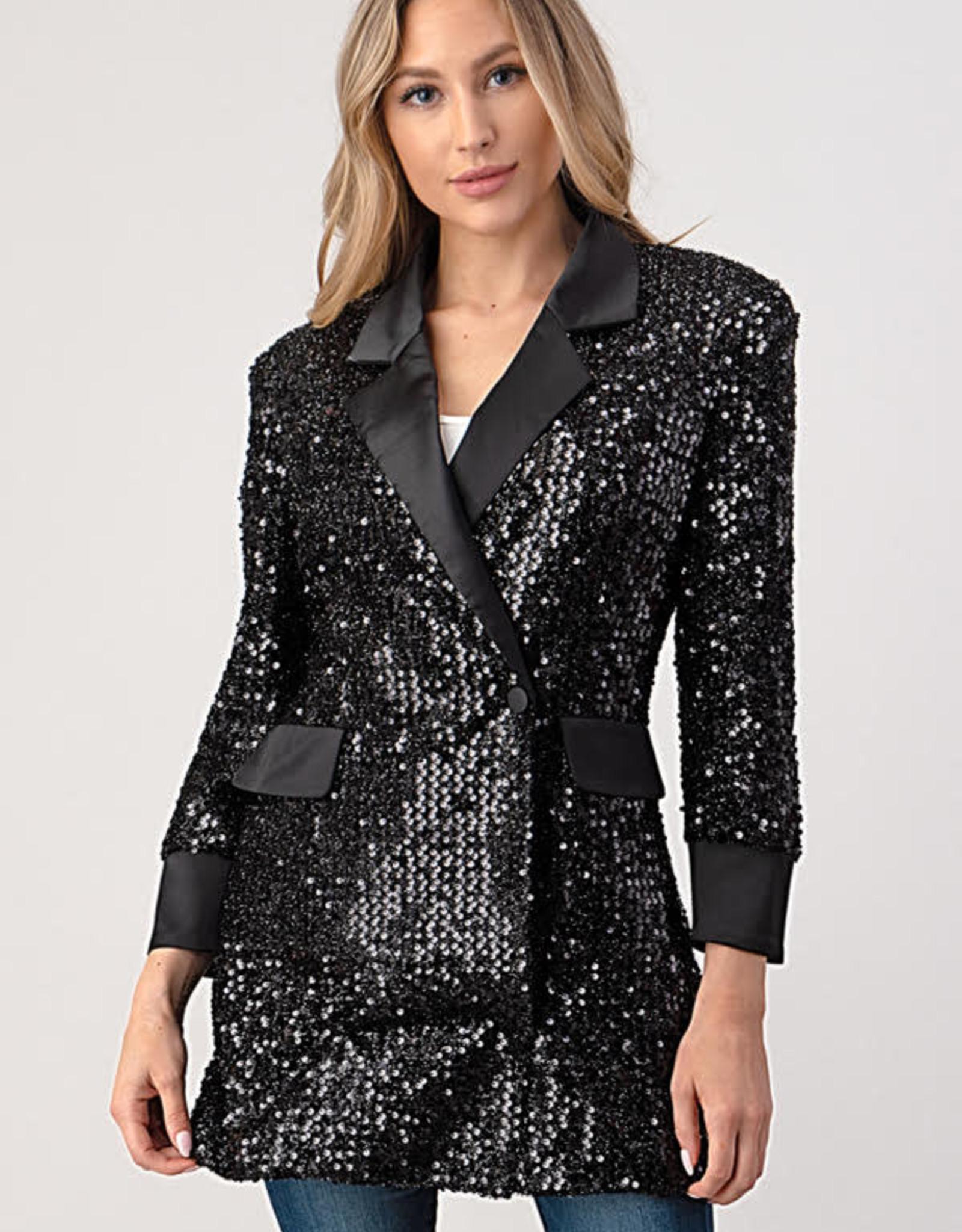 Minuet Black Sequin Tux Dress