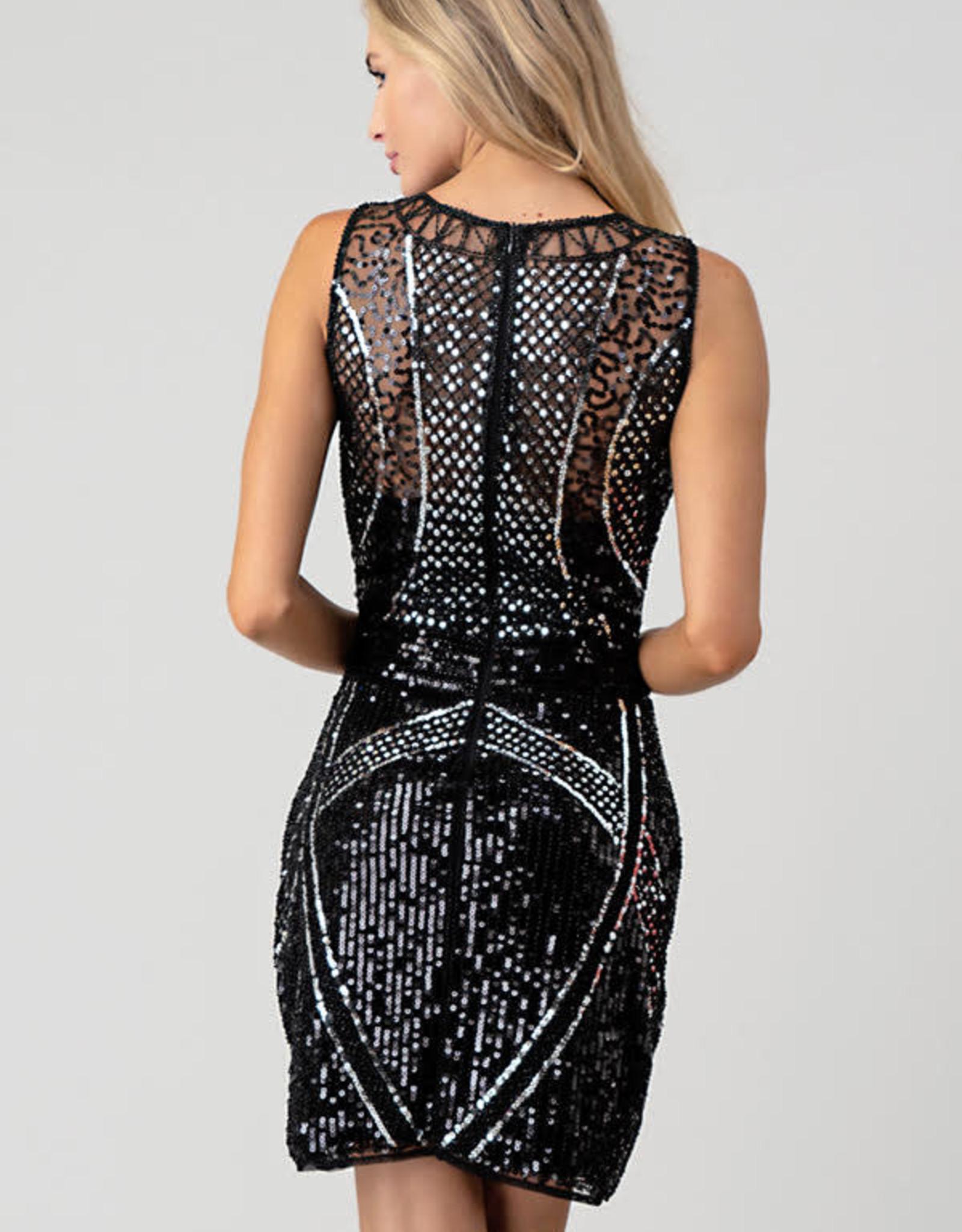 Minuet Silver/Black Sequin Slvlss Dress