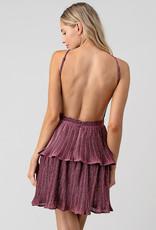 Backless Pink Ruffle Dress
