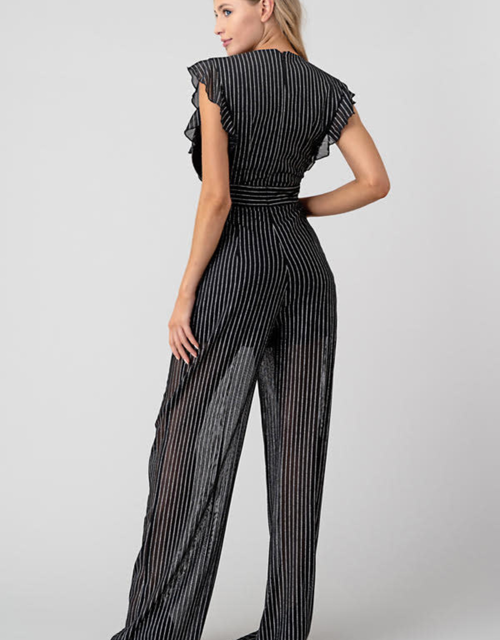 Sheer Deep V Stripe Jumpsuit
