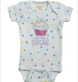 Sara Kety Onesie Cupcake 0-6 Months Wht