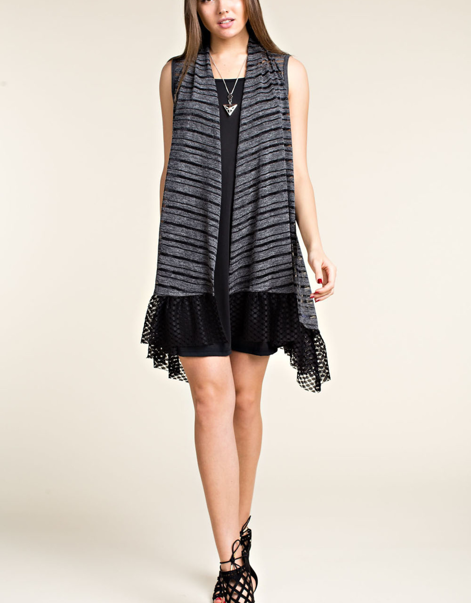 Vocal 6104 Charcoal vest wLace